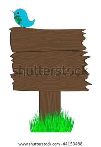 Wooden billboard and  bird on it. Good place for your text, publicity, notice