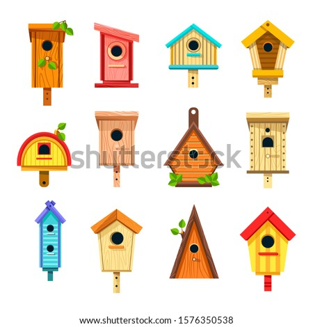 Wooden birdhouses, isolated icons nesting boxes to hang vector. Bird feeder, tree buildings of planks with hole and green leaves, construction. Handmade craft or handicrafts of wood and nails Stockfoto ©