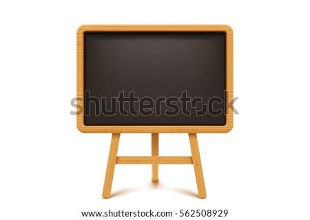 wooden blackboard on white