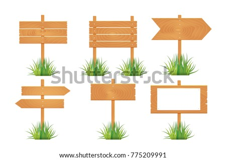 Wooden blank board signs spring time with grass. Vector illustration. #775209991
