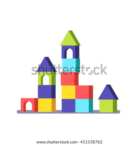 Wooden block building game castle. Modern flat vector illustration clipart.