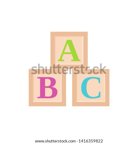 Wooden blocks baby toy. ABC cubes. Vector. Kid toys icon isolated on white background in flat design. Cartoon illustration.