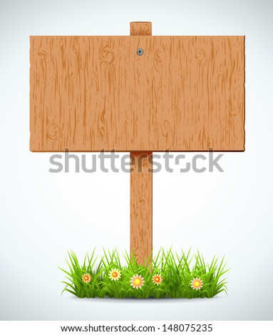 wooden board. A pointer to a white background. Plants. Vector. #148075235