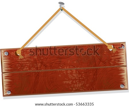 Wooden board hanging from a nail - stock vector