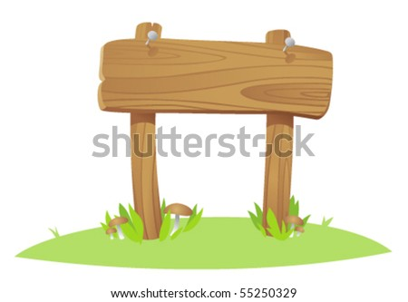 wooden board on a grass