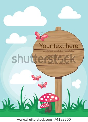 wooden board over cute nature scene. vector illustration