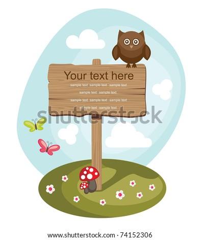 wooden board over cute nature scene. vector illustration - stock vector