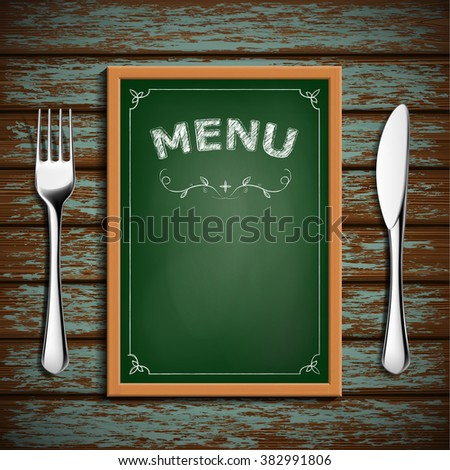 Wooden board with menu and cutlery fork and knife. Stock vector illustration.