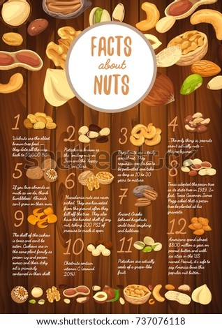 Wooden board with nut seeds and interesting facts about walnut and pistachio, brazil nut and peanut, almond and hazelnut, macadamia and cashew, pecan and chestnut. Food and nutrition theme