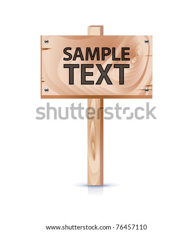 wooden board with sample text