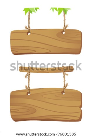 Wooden boards hanging on a cord on branch of a tree.