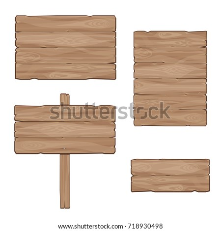 Wooden boards. Set of vector banners #718930498