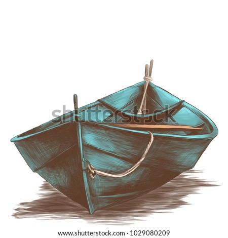 wooden boat floating on water sketch vector graphics colored drawing