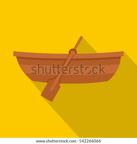 wooden boat icon flat