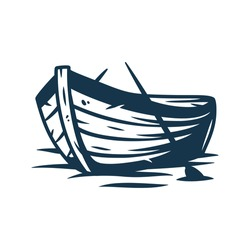 Wooden boat on waves or on the shore with paddles vector illustration isolated on white background