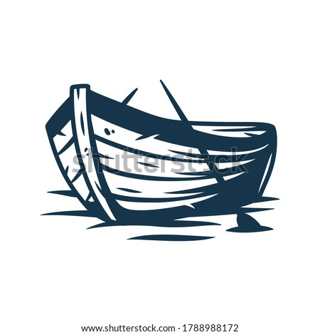 Wooden boat on waves or on the shore with paddles vector illustration isolated on white background Imagine de stoc ©