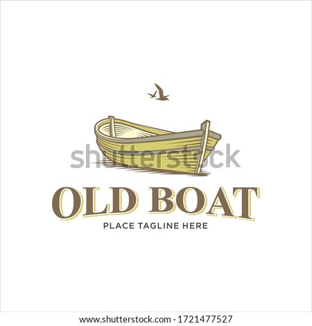 wooden boat vector logo design
