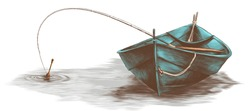 wooden boat with fishing rod inside floating on water, sketch vector graphic colored drawing