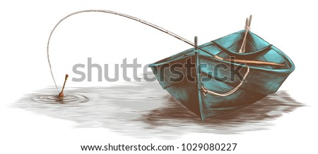 wooden boat with fishing rod