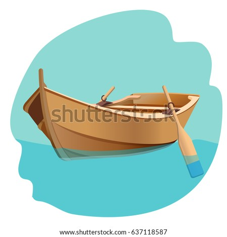 Wooden boat with oars vector illustration isolated on white.