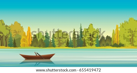 wooden boat with reflection at