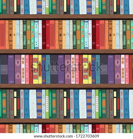 Wooden bookcase full of different books. Seamless pattern. Education library and bookstore concept. Vector illustration. Foto stock ©