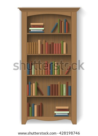 wooden bookcase with books on