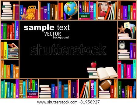 Wooden bookshelves. Vector background.