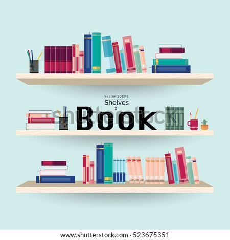 Wooden bookshelves with colorful books and stationery on light blue wall background