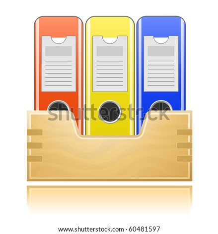 Wooden box and folders for office documents
