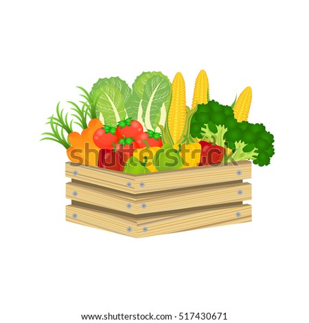 Wooden box and fresh logo with vegetables.retro crate. vegetable carrot tomato broccoli apple cabbage corn peach bell pepper. Vector illustration.