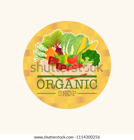 Wooden box and fresh logo with vegetables.retro crate. vegetable carrot tomato broccoli beet cabbage corn bell pepper and organic shop text . Vector illustration.