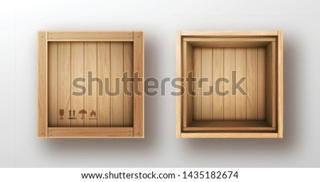 Wooden box open and closed realistic vector illustration. Wooden crate or cargo box for storage, transportation and delivery of product with postal symbols and metal nails isolated on white background