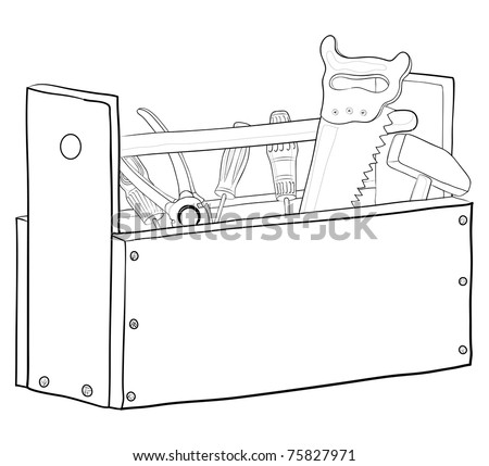 Wooden box with operating tools, vector, contours