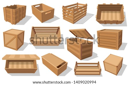 Wooden boxes and parcels isolated icons. Vector pallets and fruits and vegetables transportation containers, drawers and empty wood crates, cargo distribution packs. Packed shipping boxes with holes
