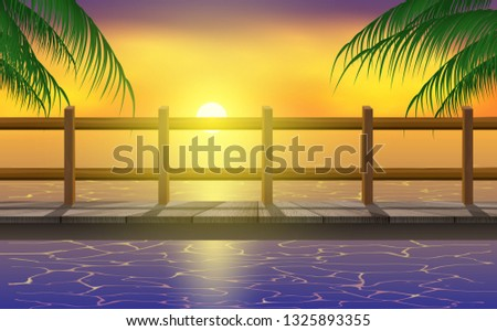wooden bridge at the sea in the