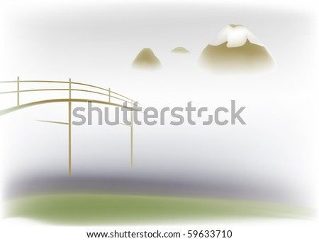 wooden bridge on a background