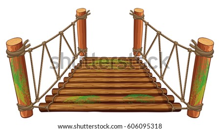 wooden bridge on white
