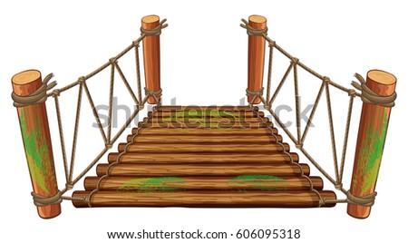 wooden bridge on white