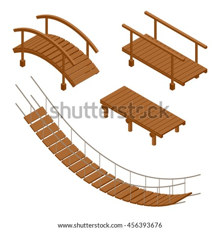 wooden bridge vector