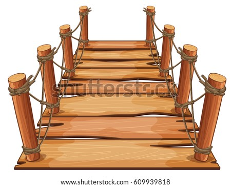 wooden bridge with rope