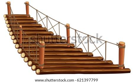 wooden bridge with rope
