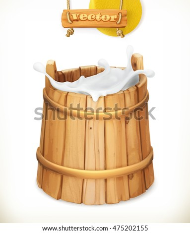 wooden bucket milk rustic