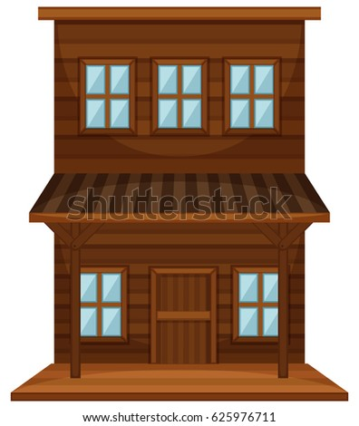 Wooden building in western style illustration