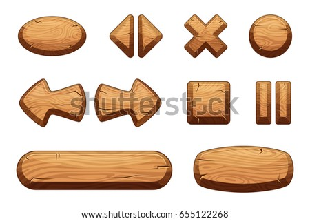 Wooden buttons set for game ui. Vector cartoon illustrations
