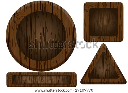 Wooden buttons. Vector. Without mesh.