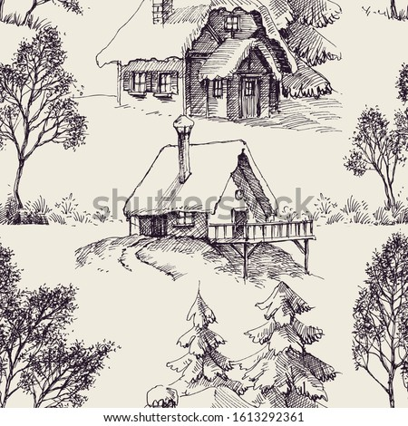 Wooden cabin in the forest graphic seamless pattern Сток-фото ©