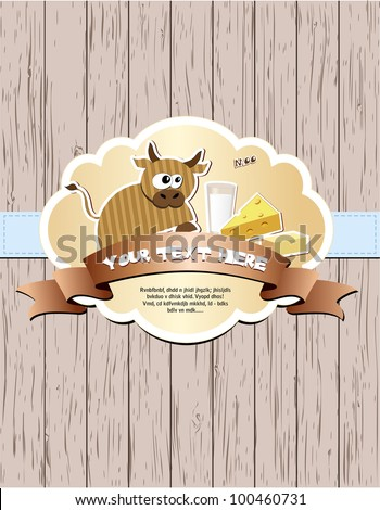 Wooden card with cow, milk, cheese and butter. Vector illustration EPS8