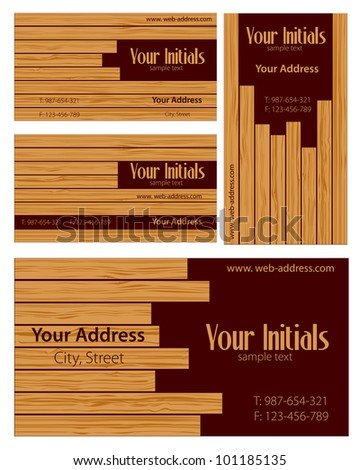 Wooden cards. Vector