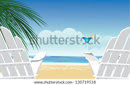 wooden chairs at the beach eps